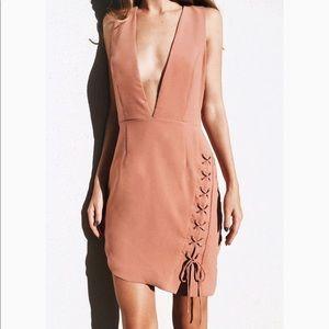 Do + Be Blush Plunge Front Dress M